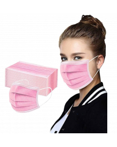 Pink Disposable 3 Ply Dustproof Breathable Face Mask (50 Pack)
